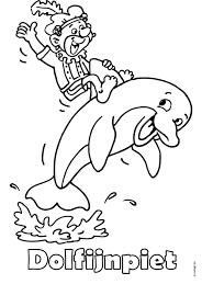 Kleurplaat Dolfijnpiet Zwarte Piet Kleurplatennl