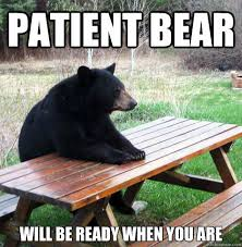 Patient bear will be ready when you are - waiting bear - quickmeme via Relatably.com
