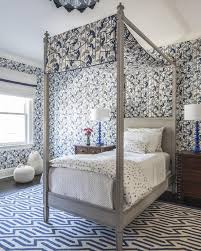 Gray Kids Canopy Bed with Blue Geometric Rug - Contemporary - Boy's Room