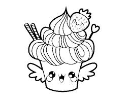 Disegno Di Cupcake Kawaii Con La Fragola Da Colorare Acolorecom