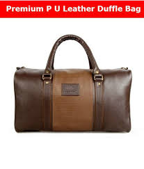 the clownfish ambiance series uni p u leather travel bag 18 inch 20 litres brown duffle travel
