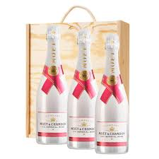 3 x moet chandon ice imperial rose chagne 75cl in a pine wooden gift box
