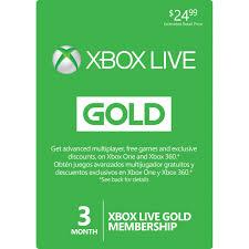 microsoft xbox live 3 month gold membership card