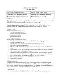 Case Management Job Description OUR FAMILY SERVICES Job Description Title Case Management Intern 2