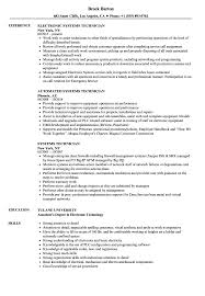 Systems Technician Resume Samples Velvet Jobs