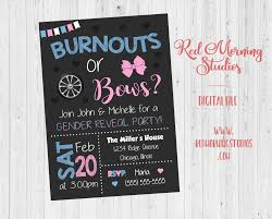 Burnouts Or Bows Gender Reveal Party Invitation Printable