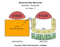 Nashville War Memorial Seating Chart Nashville War Memorial Tickets In Nashville Tennessee