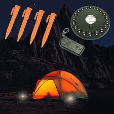 Atak Lighted Tent Stakes Set Wireless 80 Lumen Led Lamp With Remote