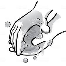 石鹸と水白と黒で手を洗う人のイラスト訓練情報および制度上の材料