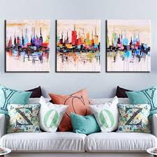 3 panel set cityscape picture art modern hand painted palette knife oil painting canvas wall art large pictures in painting calligraphy from home garden  on 3 panel wall art set with 3 panel set cityscape picture art modern hand painted palette knife
