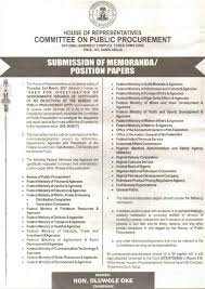 house of representative committee on public procurement call for  related posts