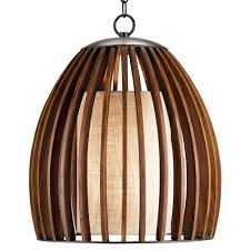carina wood and burlap slat mid century style bell pendant lamp kathy kuo home