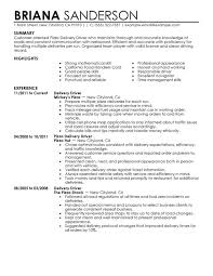 delivery driver resume samples pizza delivery driver resume sample free  download - Driver Resume Samples Free