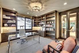 kitchen cabinets home office transitional: image credit skd architects semi flush ceiling light home office transitional with birdcage legs built in bookcase dark wood cabinets drum shade glass desk glass