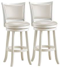 Louise White Wooden Bar Stools, Set Of 2  Houzz a