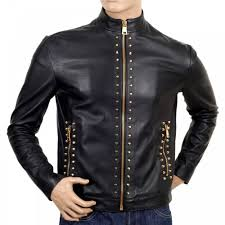 versace mens black leather collar zipped studded jacket