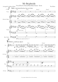 Mr Brightside Sheet Music For Piano Voice Guitar Bass