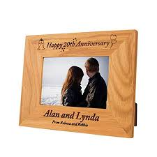 personalised 20th wedding anniversary gift idea special 20th wedding oak frame end 20th anniversary