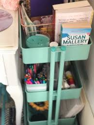 makeshift office. I Used This 3-tier Rolling Cart From Michaels Between The Desk And Wall To Hold Remaining Items Use Daily. Am So Happy With How Project Makeshift Office