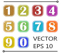 number templates 1 10 set of artistic number label in different color on wavy background