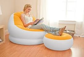 intex inflatable furniture. INTEX Inflatable Colorful Cafe Chaise Lounge Chair W/ Ottoman - Orange | 68572E Intex Furniture