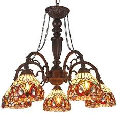 Tiffany Style Kitchen Lights Details About Tiffany Style Chandelier Ceiling Light Fixture 5 Lights Glass Shade Dark Bronze