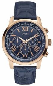 guess mens watches official uk retailer first class watches guess mens horizon rose gold blue chronograph w0380g5