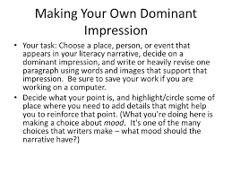 literacy narrative examples ppt video online  making your own dominant impression