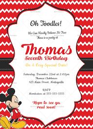 B Day Invitation Cards Editable Mickey Mouse Birthday Invitation Card Template