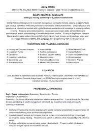Equity Research Associate Resume Template finance research associate resume  sample ...
