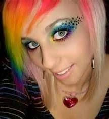 i just love this s rainbow hair color and her awesome colorful emo makeup