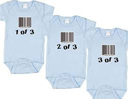 triplet boy baby gift set includes 3 bodysuits barcode size 6 12