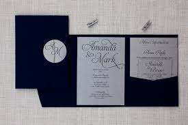 Wedding Invitation Folder Navy Blue Silver Pocketfold Wedding Invitation