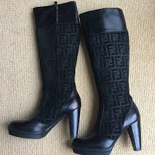 Fendi Shoes | Wendi Black Suede And Leather Boots | Poshmark