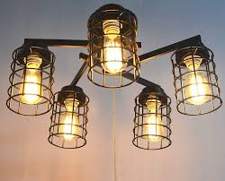 Ceiling Light With Chain Industrial Flush Mount Ceiling Light With Pull Chain 5 Lights E26 084