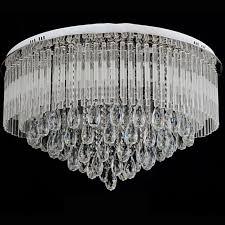 modern round k9 crystal led flush ceiling light chandelier remote ctrl
