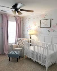 Baby girl nursery. Floral walls. Floral nursery. Pink curtains ...