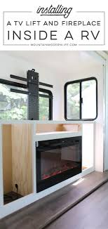 installing a tv lift electric fireplace in our rv