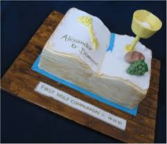 Blissfully Sweet Open Bible Holy Communion Cake For Twin Boys