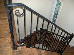 wrought iron stair railings with wood steps | Interior Iron Stair Railing  (#SR-