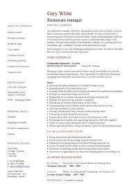 Restaurant Resume Template Resume Templates Free Download Restaurant Manager Cv Sample 423