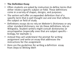 writing the definition essay what is an american ppt  the definition essay often students are asked by instructors to define terms that either relate a