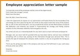 010 Employee Recognition Letter Example Appreciation Sample