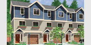 TriPlex House Plans  Multi Family Homes  Row House PlansT  Triplex plans  small lot house plans  row house plans