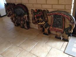 balinese elephants wall plaques on indonesian wooden wall art with large heavily carved wood indonesian balinese elephant wall art