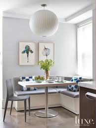 Modern Gray Breakfast Nook with Blue Accents