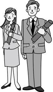 大人っぽい男性と女性が卒業証書を持ち笑顔のモノクロ白黒イラスト無料