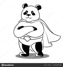 Panda Superheld Kleurplaat Vectorillustratie Stockvector