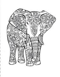 free coloring pages animals elephants hand drawn art in black and white