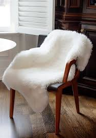 ivory bear faux fur chair cover 2